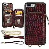 LAMEEKU iPhone 8 Plus Wallet Case, iPhone 7 Plus Stone Pattern Zipper Card Holder Slot Case with Strap Crossbody Chain, Shockproof Protective Phone Cover for iPhone 8 Plus/7 Plus 5.5'-Wine Red