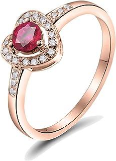 ButiRest - Anello in oro rosa 18 carati 750 con 3 artigli, taglio rotondo, 0,45 carati, colore: Rosa/Rosso rubino VS e dia...