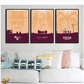 Mxsnow Minimalist Hot TV Series Shows Friends Breaking Bad Game of Thrones Art Painting Canvas Poster Wall Home Decor-50x7...