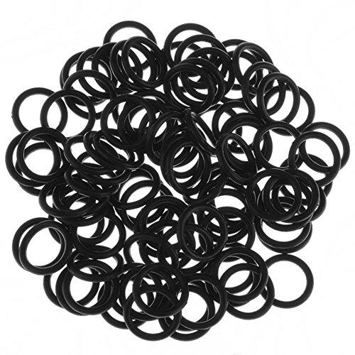 """PiercingJ 100pcs Black O-Ring for Ear Piercing Gauge Kit 14G 12G 10G 8G 6G 4G 2G 0G 00G 1/2"""". 3/4"""""""