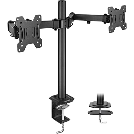 "Huanuo Dual Monitor Stand Mount, Fully Adjustable LCD Monitor Desk Mount Fits 13"" to 27"" Computer Screens, Vesa 75 100, Each Arm Holds up to 17.6lbs"