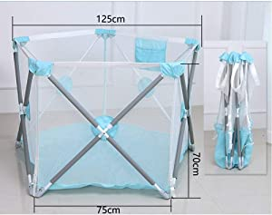 Foldable Baby Fence Portable Kids  Outdoor Safety Products Breathable Mesh Strong Durable Playard For Beach Playground Backyard Home Park Baby Playards  Color Blue