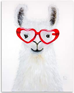 Llama Love - 11x14 Unframed Art Print - Makes a Great Home Decor Gift to People Who Love Llamas Under $15