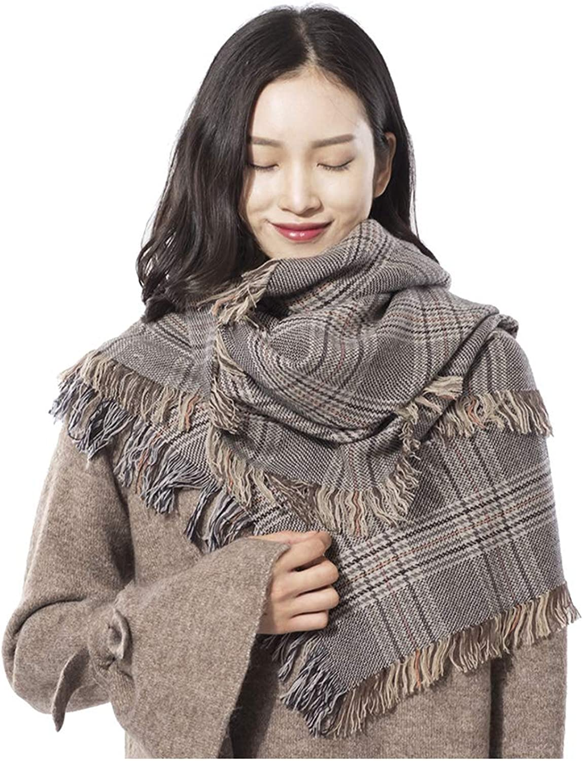 Scarves Women's Scarf Pure Wool Shawl Cold Weather Scarf Warm Scarf Thick Scarf Dualuse Long Scarf Cold Weather Scarves (color   Brown, Size   190  90  0.3cm)