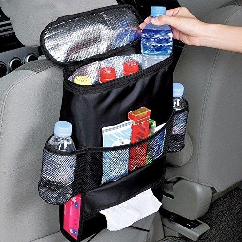 Kühltasche Auto Rücken Organizer mit Mesh Taschen Auto Sitz Mehrzwecktaschen Reisen praktischen Aufbewahrungsbeutel Getränkehalter Kühler für Autositz Netztasche & Becherhalter (2 Stück)
