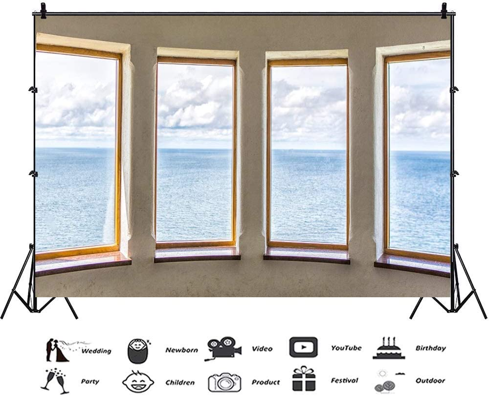 Vinyl 8x6.5ft Lighthouse French Window Sea View Backdrop for Photography Interior Beach House Empty Space Summer Holiday Backdrop Coastal Tourism Vacation Seascape Wedding Portraits