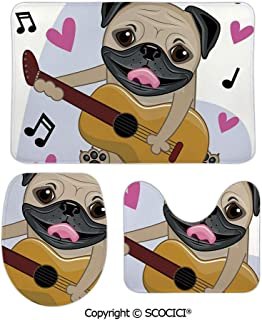 SCOCICI Funny Three-Piece Toilet Seat Pad Pug Dog Playing Guitar Singing with Cute Hearts Funny Animal Cartoon Dec Bathroom Rug Mats Includes Bath Mat,Contour Mat and Lid Cover