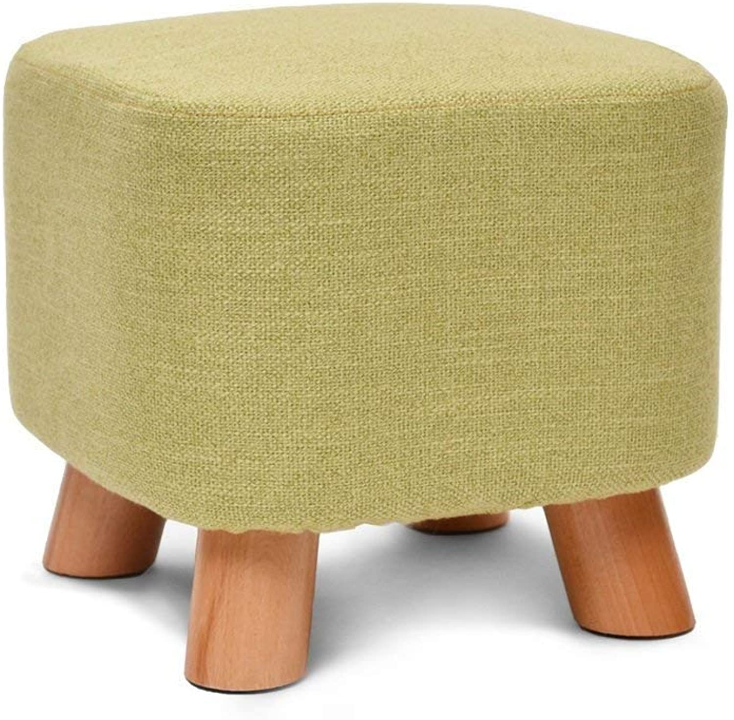 Small Stool, Multi-color Detachable Linen Cover 4 Wooden Legs Solid Wood Stool Home Small Seat Rest Chair shoes Stool Suitable for Living Room Bedroom (color   A)