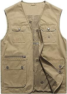 Men's Cotton Cargo Vest Casual Active Outdoor Pockets Fishing Safari Travel Vests Jacket