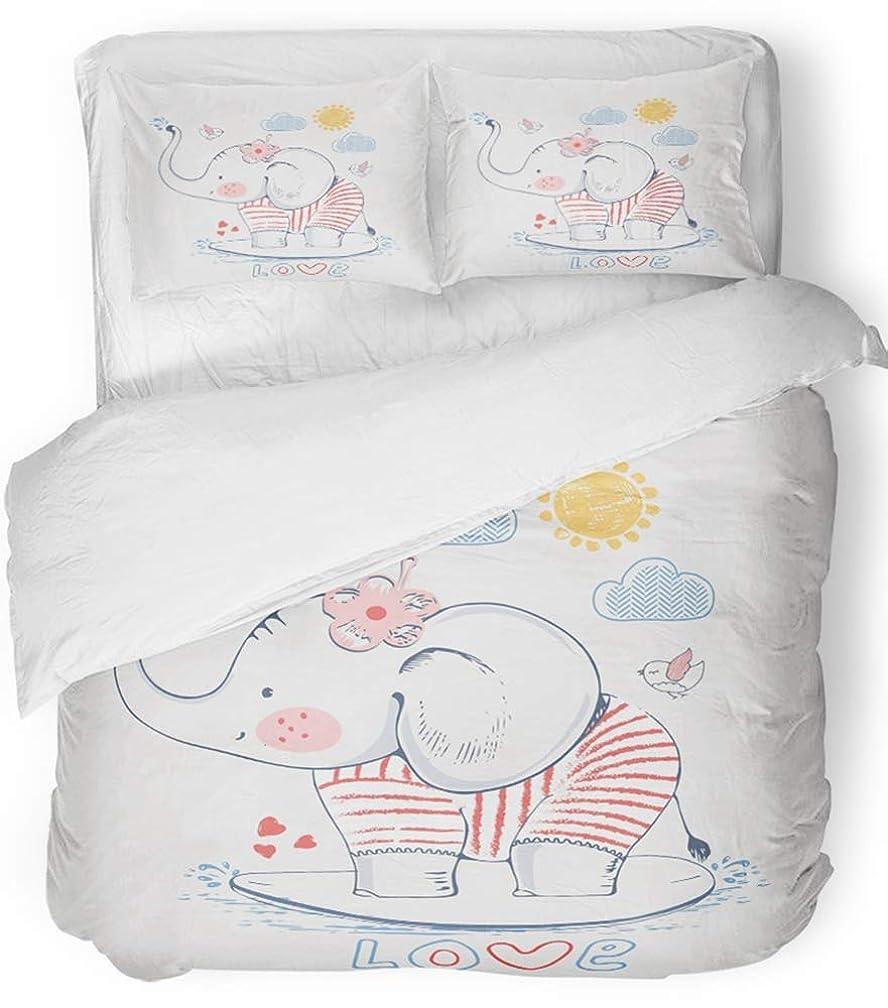 取り扱い慢音節3ピース布団カバーセット通気性ブラシマイクロファイバー生地ネイビーベビーセーラー象子供の赤ちゃんのデザイングラフィック子供帽子漫画保育園寝具セット付き2枕カバーキングサイズ