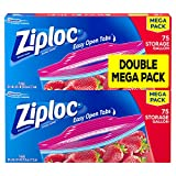 Ziploc Storage Bags with New Grip 'n Seal Technology, For Food, Sandwich, Organization and More, Smart Zipper Plus Seal, Gallon, 150 Count