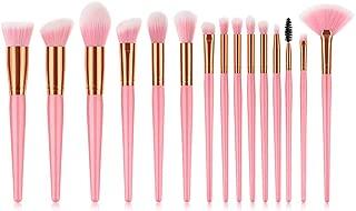 XUANOU 15PCS Pink Cosmetic Makeup Brush Brushes Foundation Powder Eyeshadow Brush Set