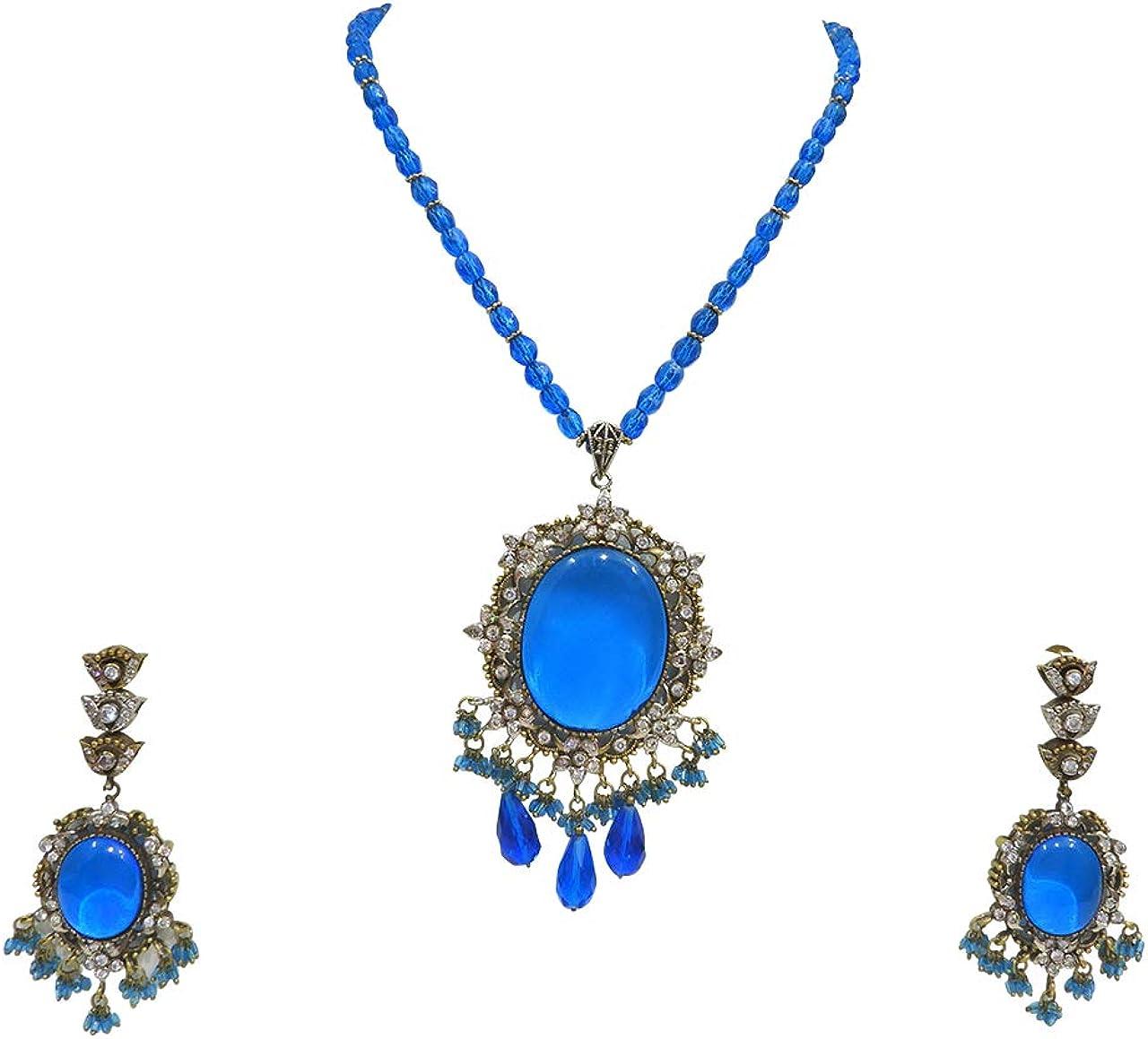 Babosa Sakhi Victorian Firozi Pendant Set Cz Antique Necklace Gift for Woman Fashion Jewelry