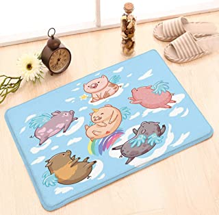 Funny Doormat Washable Floor Entrance Outdoor Indoor Rug Doormat Non-woven Fabric 23.6 W X 15.7 W Inches flying pigs clouds cartoon characters six mini isolated blue set style wings symbol pig