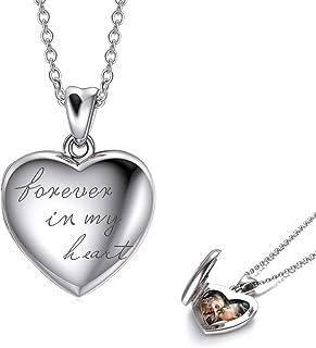 LONAGO - Collana in argento Sterling 925, con medaglione a forma di cuore che può contenere fotografie a scelta