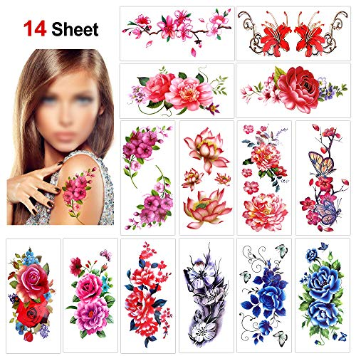 Flower Temporary Tattoos for Women Teens Girls(14 Sheets),Konsait Rose Lotus Cherry Blossoms Waterproof Temporary Tattoo Festival Fake Tattoo Body Art Stickers for Summer Beach Pool Party