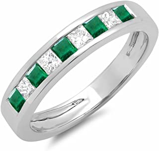 Dazzlingrock Collection 10K Gold Princess Cut Emerald & White Diamond Ladies Anniversary Wedding Band Stackable Ring