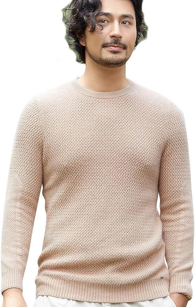 织礼 Zhili Mens Basic Designed Round Neck Pullover Cashmere Sweater