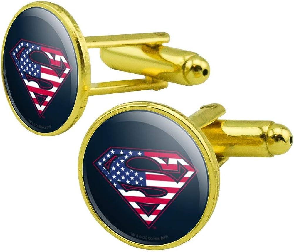 GRAPHICS & MORE Superman USA American Flag Shield Logo Round Cufflink Set Gold Color