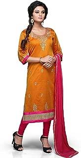 Utsav Fashion Women's Cotton Chanderi Readymade Kameez With Legging