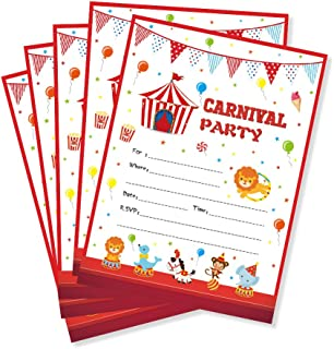 CC HOME Carnival Circus Party Invitations with Envelopes (20 Count),Circus Carnival Birthday Party Decorations,Carnival Fill in Invites for Kids ,1St Birthday ,Baby Shower ,1st Birthday Party Decorations Supplies