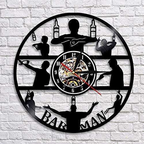 BFMBCHDJ Barman Silhouette Art Reloj de Pared Retro Vinyl Record Clock Bartender Brewing Alcohol Ale Drink Show Art Decoración de Pared para Bar No LED 12 Pulgadas