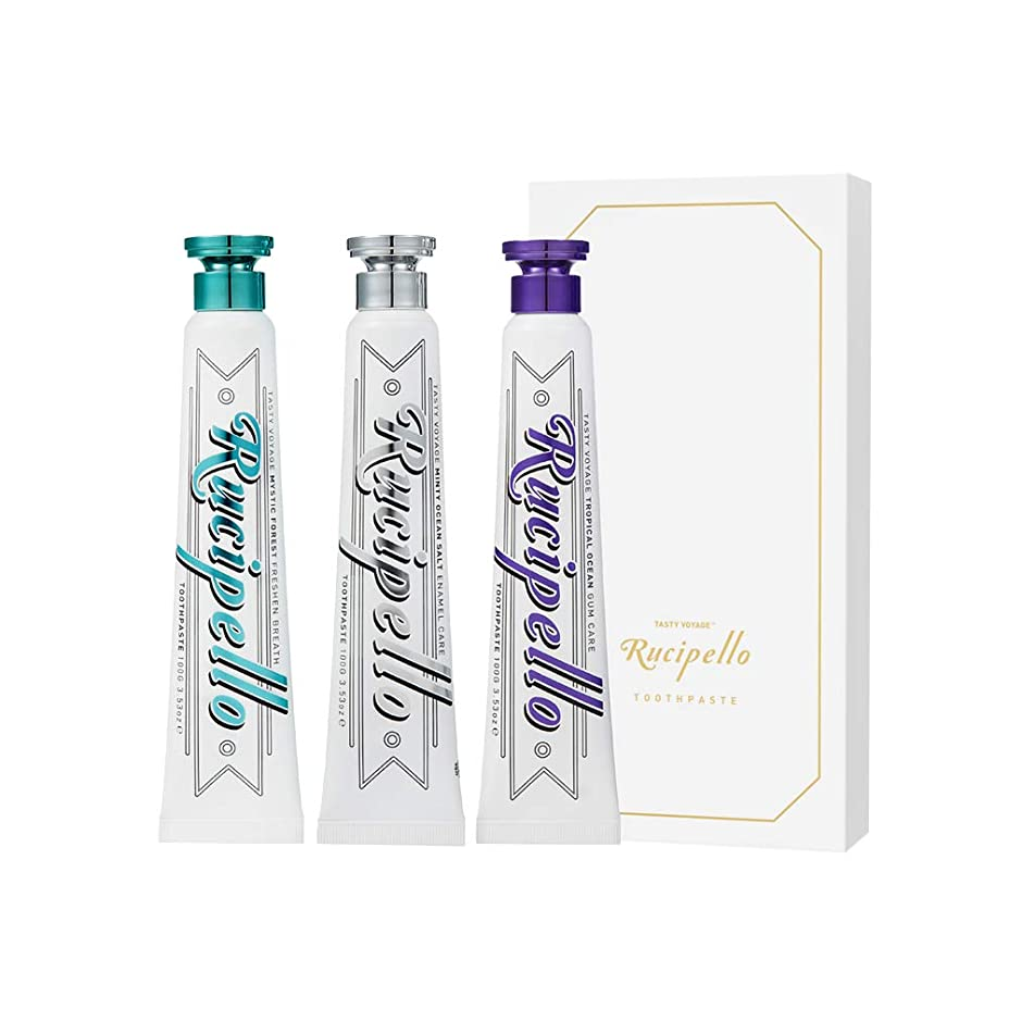 政治的習熟度飢[ルチペッロ] Rucipello 歯磨き粉3種のプレゼントセット 100g x 3 本 (海外直送品)