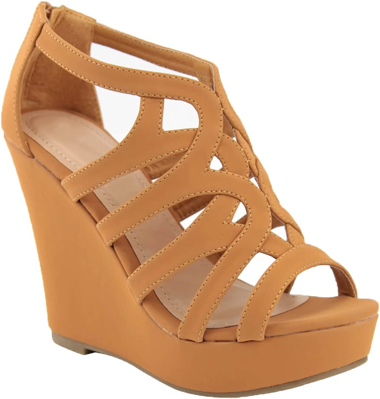 ShoBeautiful Women's Platform Wedges High Heel Sandal Gladiator Strappy Bird Cage Open Toe Fashion Dress Wedding shoes PS01