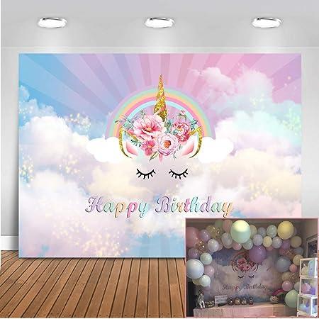 Mehofoto Geburtstag Einhorn Blume Hintergrund 7x5ft Kamera