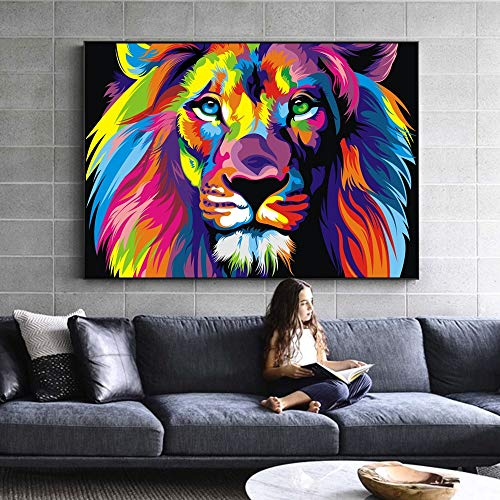 JFSJDF Watercolor Lion Wall Art Canvas Abstract Animals Lion Pop Graffiti Art Paintings On The Wall Picture for Baby Room Decor