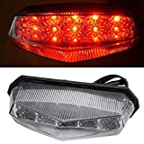 Motorcycle 10 LEDs CLear Tail Light with Brake Stop Turn Signal Function Universal for Dirt Bike Buggy Chooper Cruiser ATV