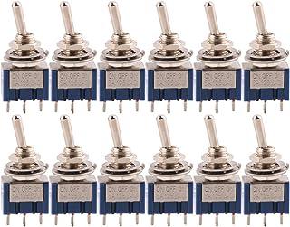CESFONJER 12 Piezas Mini Interruptor de Palanca, AC 125V 6A ON-OFF-ON 3 Pines 3 Posiciones SPDT Interruptor Rocker Switch de Azul