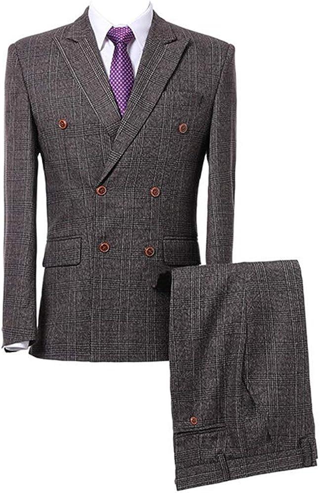Man Suit Wool Blend Houndstooth Tweed Grey Grid Plaid Tuxedos Slim Fit 3-Pieces Suits