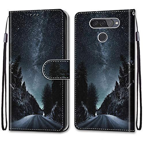 Yoedge Capa carteira para LG Q6, capas de telefone flip de couro PU [capa de TPU] [compartimento para cartão] [fecho magnético] [suporte] Capa tipo fólio com padrão de design compatível com LG Q6 de 5,5 polegadas, céu estrelado