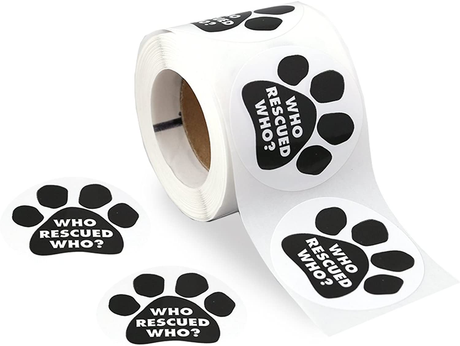 250 Who Rescued Who Black Paw Print Stickers on a Roll (Who Rescued Who)