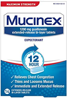 Chest Congestion, Mucinex Maximum Strength 12 Hour Extended Release Tablets, 14ct, 1200 mg Guaifenesin with extended relie...