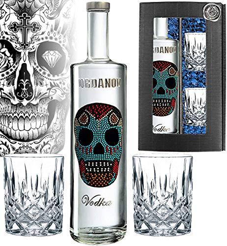 Iordanov Vodka Mexican-Skull | in der Geschenkbox inklusive 2 edlen Tumblern (0.7 l) Experte, Genießer, Kenner