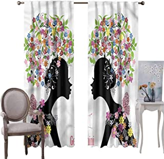 hobeauty home Curtain Panel Pair Zodiac Gemini, Heavy Duty Solid Backdrop Curtains Floral Ladies Use for Living/Dining Roo...