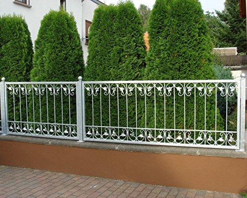 Gabella Monaco-Z140/200 Zink Metall/Gartenzaun Eisen Schmiedeeisen Feuerverzinkt, silber