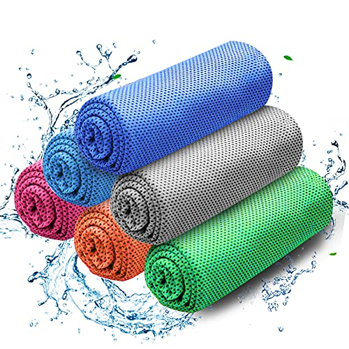 Cooling Towel, Instant Cooling Towel 6 Pack, Cooling Towel for Neck Ice Cool Towel Microfiber Soft Absorbent Cooling Towel Quick Dry Towel for Yoga, Golf, Gym, Work Out, Sports