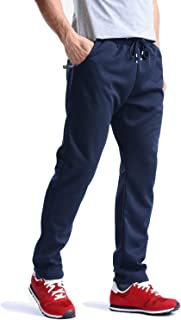 MAGCOMSEN Men's Cotton Tracksuit Bottoms Gym Casual Lightweight Joggers Men with Zipper Pockets Summer Running Trousers