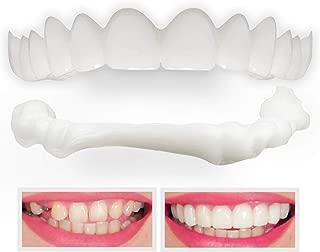 Denture Fake Teeth Veneer Dental, Veneers Snap in Teeth, Cosmetic Tooth Replacement Kit for Real Teeth, Top Only One Size Fits All
