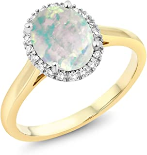 3679966cd Gem Stone King 10K 2-Tone Gold Oval White Simulated Opal and Diamond Halo  Engagement