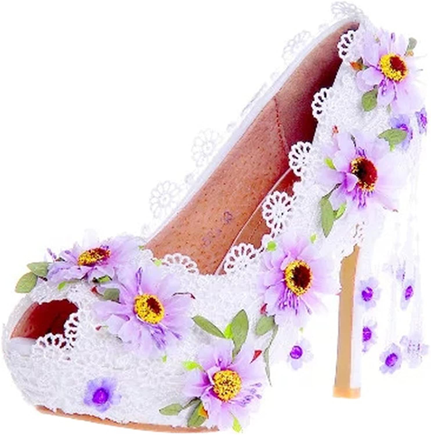 TDA Women's Peep Toe Flowers Lace Wedding Party Dress Stiletto shoes