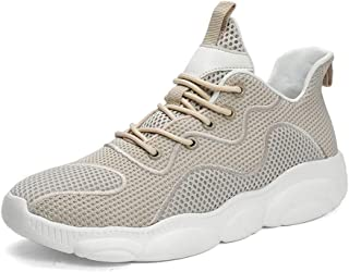 MAODOXIANG Athletic Shoes for Men Breathable Mesh Upper Outdoor Sport Running Sneakers Knit Anti-slip Flat Lace up Round Toe Men's Casual Shoes Casual Wear (Color : Wheat, Size : 44 EU)
