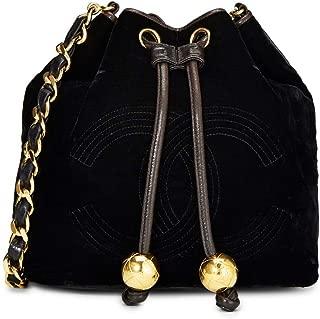 CHANEL Black Velvet Bucket Bag Small (Pre-Owned)