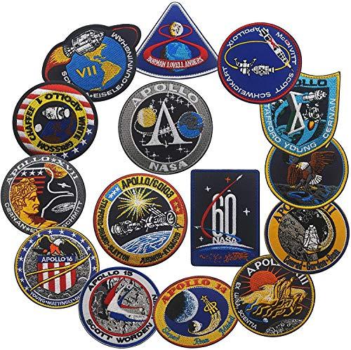 Juego de parches de misin Apolo de la NASA Apollo1,7,8,9,10,11,12,13,14,15,16,17, parches bordados espaciales, logotipo de 60 aniversario, parche bordado para disfraz de bricolaje