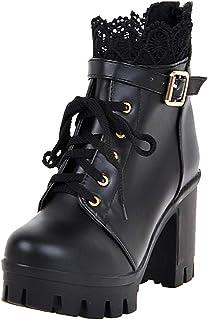 14030ba9a8f UH Botas Encaje Tacon y Plataforma Botines Cordones Mujer Tacon Boda Novia  Zapatos