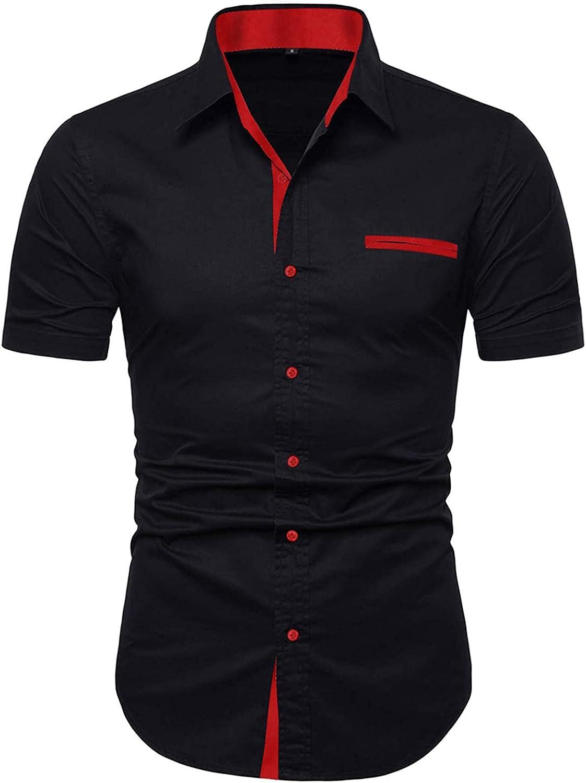 Ranberone Mens Casual Cotton Short Sleeve Dress Shirt Slim Fit Contrast Collar Button Down Shirts