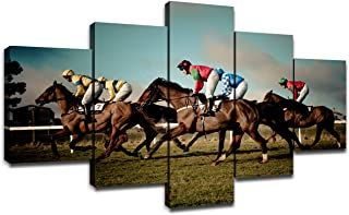 Horse RacingWall Decor Modern Art Paintings 5 Piece Canvas Picture Artwork Living Room Racehorse Prints House Poster Home Decoration Wooden Framed Ready to Hang(60''Wx32''H)